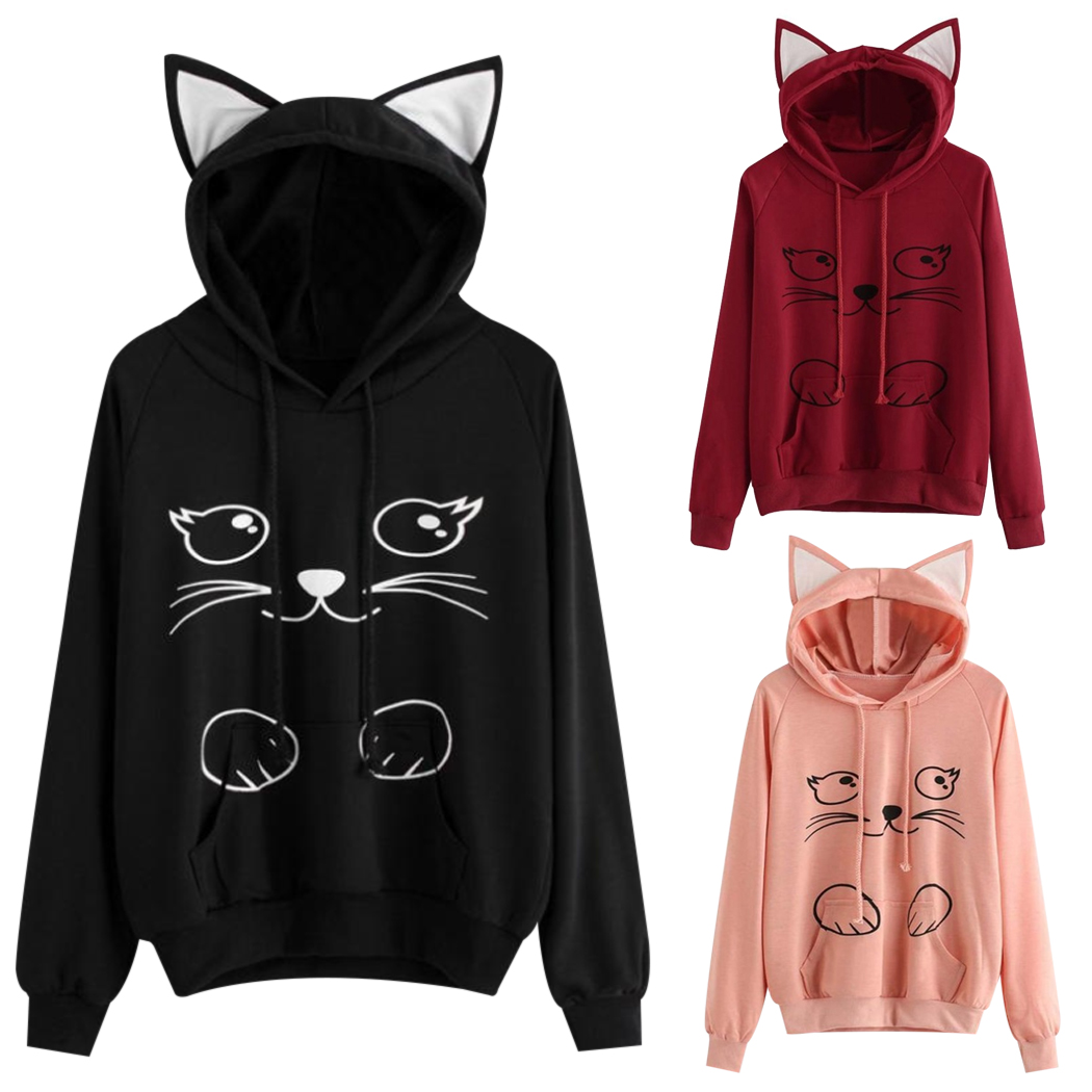 Harajuku Kawaii Cat Ear Hoodies Women Cute Cartoon Cat Printed Sweatshirt  Tops Ladies Long Sleeve Hooded 2df7f576bd5b