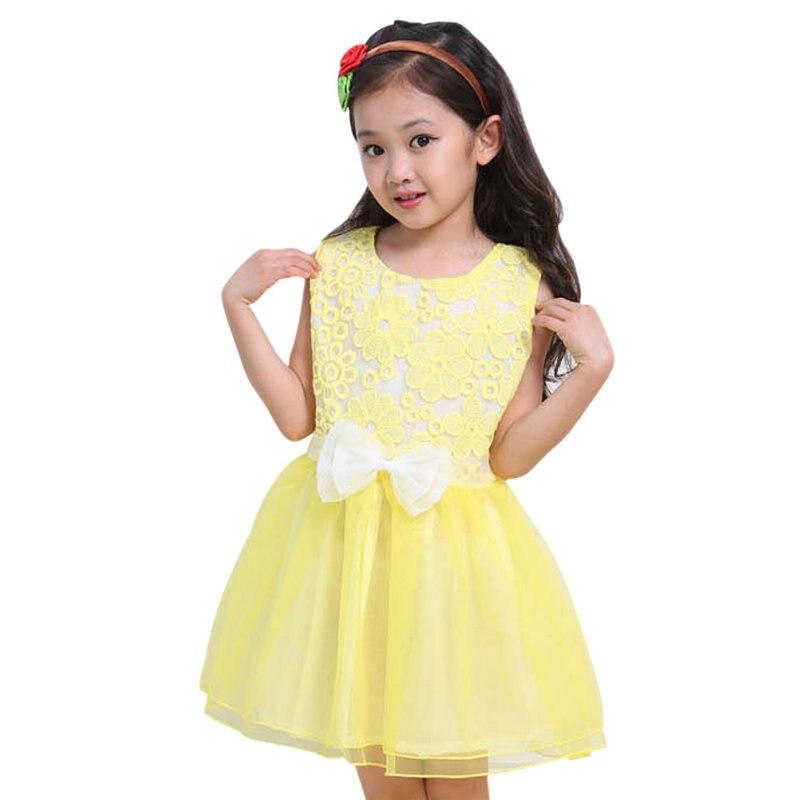 9a1d2960b3 Ubrania dla dzieci Dziewczyny Bez Rękawów Bowknot Księżniczka Dziecko Cute  Strona Suknie Hot