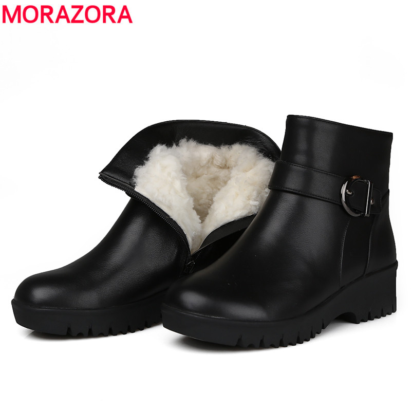 MORAZORA 2018 top quality ankle boots for women round toe genuine leather boots fur natural wool boots keep warm winter boots цены онлайн