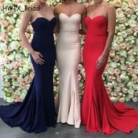 Королевский синий Длинные платья невесты Простой без бретелек рукавов атласная красный пол Длина Для женщин платье для выпускного вечера о