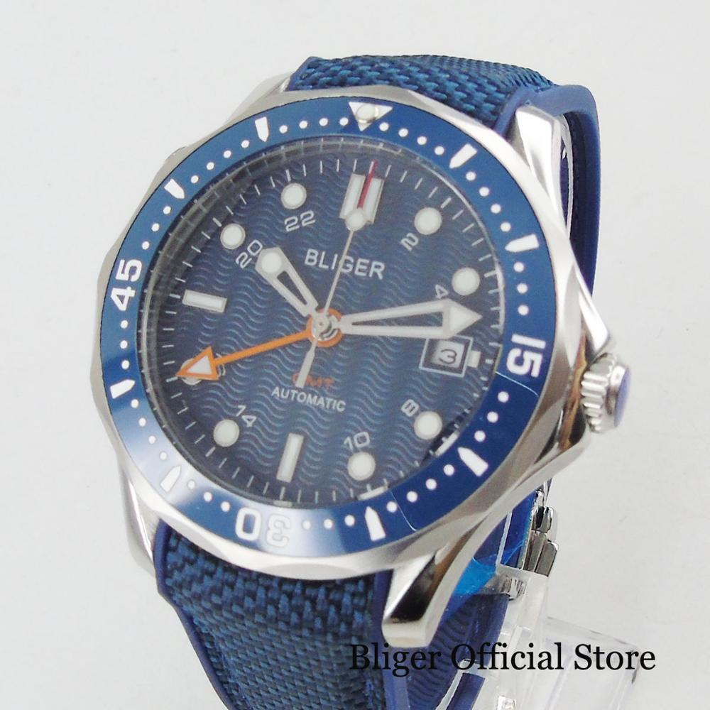 BLIGER Top Brand Sport Style GMT Function Mechanical Men's Watch Sapphire Crystal Date Indicator Rubber Strap Ceramic Bezel
