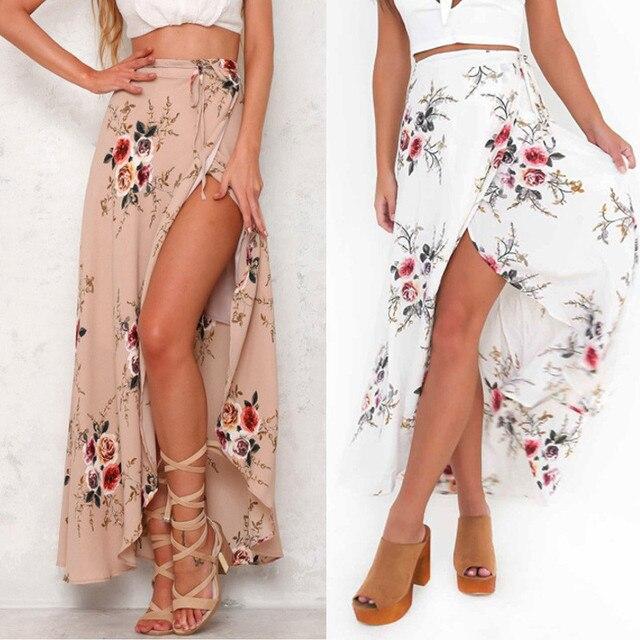 Alta cintura mujeres vintage impresión floral elegante Maxi falda 2018 moda  verano largo MIDI Faldas falda afe419f76229