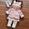 Rápida de Alta Calidad Ropa de Los Niños Fijó 2016 de Corea Lindo de Punto Espesar Fleece coat + pants Del Bebé Ropa de Otoño y invierno
