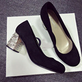New Thick Heels Women Shoes 2016 Rhinestone Women Pumps Shoes Wild Round Toe Suede High-heeled Shoes