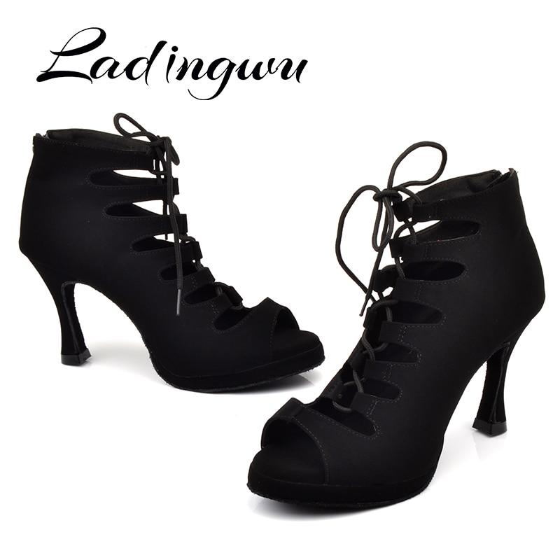 Ladingwu New Women's Latin Dance Shoes Ballroom Tango Platform Ladies Ladys Comfortable Flannel Dancing Shoes Black 9cm Cuba