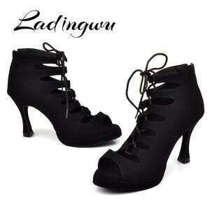 Image 1 - Ladingwu 새로운 여성의 라틴 댄스 신발 볼룸 탱고 플랫폼 숙녀 ladys 편안한 플란넬 댄스 신발 블랙 9cm 쿠바