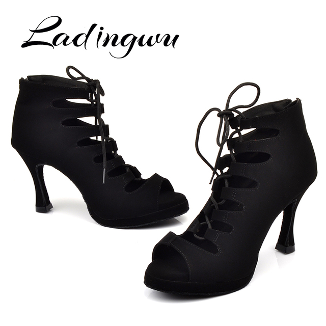 Ladingwu 새로운 여성의 라틴 댄스 신발 볼룸 탱고 플랫폼 숙녀 ladys 편안한 플란넬 댄스 신발 블랙 9cm 쿠바