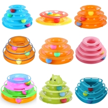 2018 Funny Pet Toys Cat Crazy Ball Disk Interactive Amusement Plate Play Disc Trilaminar Turntable Cat Toy New Year