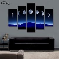 5 Painel de Imagem Da Lua Montanha Noite Pintura de Paisagem para Parede Do Quarto Escuro Cópias Da Lona de Arte Sem Moldura