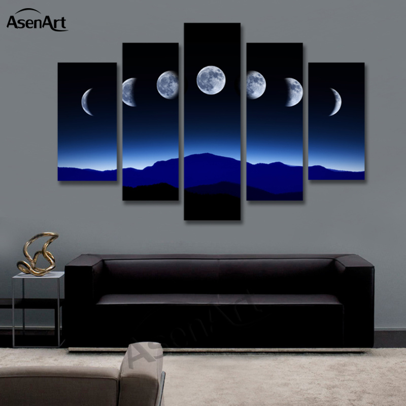 Us 20 7 51 Off 5 Panel Dark Moon Picture Mountain Night Landscape Painting For Bedroom Wall Art Canvas Prints No Frame In Painting Calligraphy