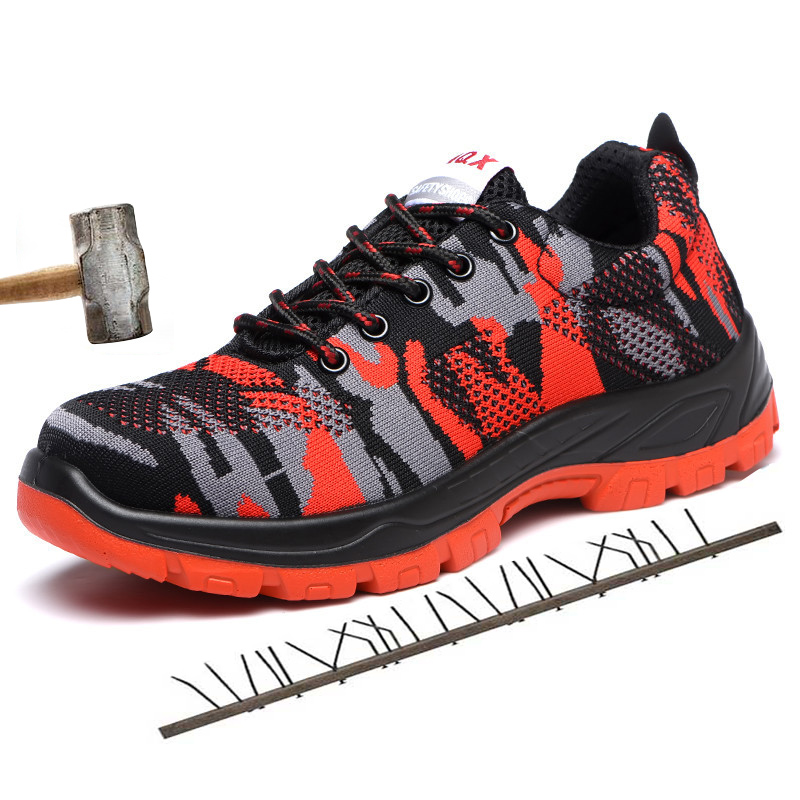 Men Safety Shoes Plus Size 45 47 Camouflage Flyknit Anti Odor Sneakers For Boys Air Mesh Lace Up Casual Shoes Men in Men 39 s Casual Shoes from Shoes