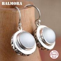BALMORA 100 Real 925 Sterling Silver Round Drop Earrings For Women Mother Gift Retro Elegant Earrings