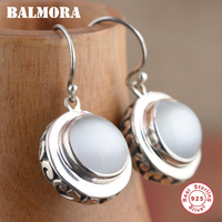 BALMORA 100 Real 925 Sterling Silver Round Drop Earrings For Women Mother Gift Retro Elegant Earrings