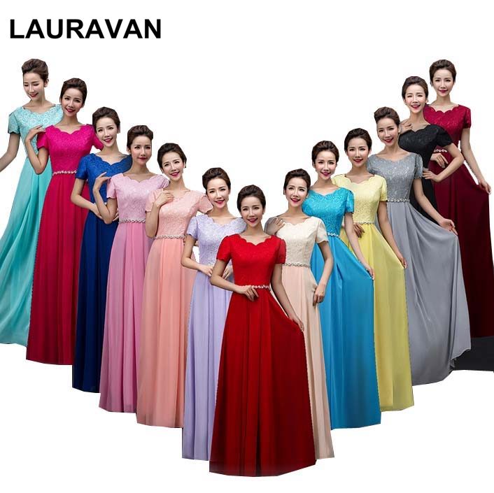 multi color 2019 new robe de soiree long red   bridesmaids   red blue   bridesmaid     dresses   in lace chiffon women   dress   gown