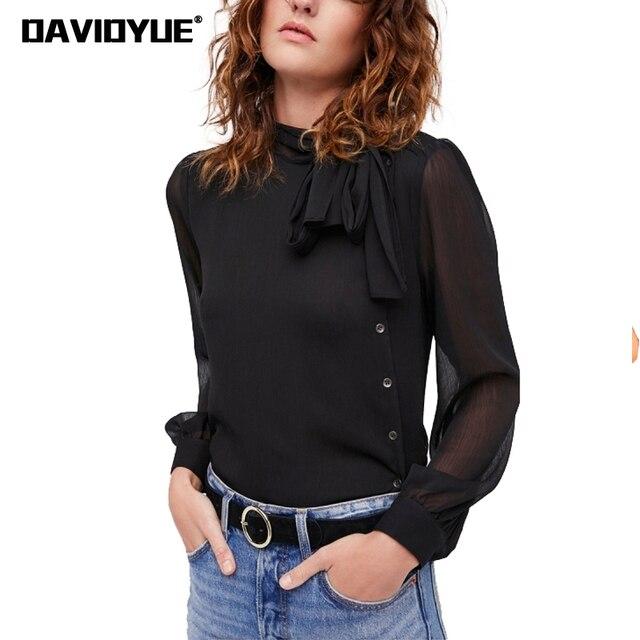 86eb1fd56df5a7 Spring long sleeve chiffon blouse shirts 2018 fashion Black Mesh Button  office women tops Casual high