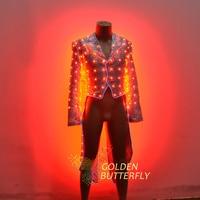 2017 Fashion Swallowtail LED Tuxedo Luminous Costumes Glowing vestidos LED Clothing Show Men LED Clothes Dance Accessories