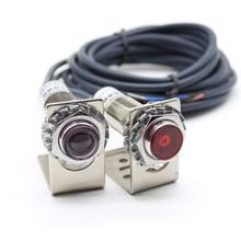 M12 M18 Laser Visible Light Sensor  Thru beam Photoelectric Switch 20 Meters Adjustable 6 36VDC IP67  200mA NPN /PNP NO /NC