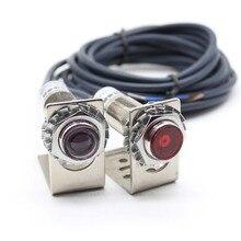 M12 m18 sensor de luz visível laser, através do interruptor fotoelétrico com feixe ajustável 6 36vdc ip67 200ma npn/pnp no/nc