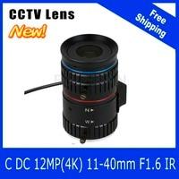 12 megapixel varifocale cctv 4 k lens 1/1. 8 inch 11-40mm cs mount dc iris voor sony imx226/178 box camera/4 k camera gratis verzending