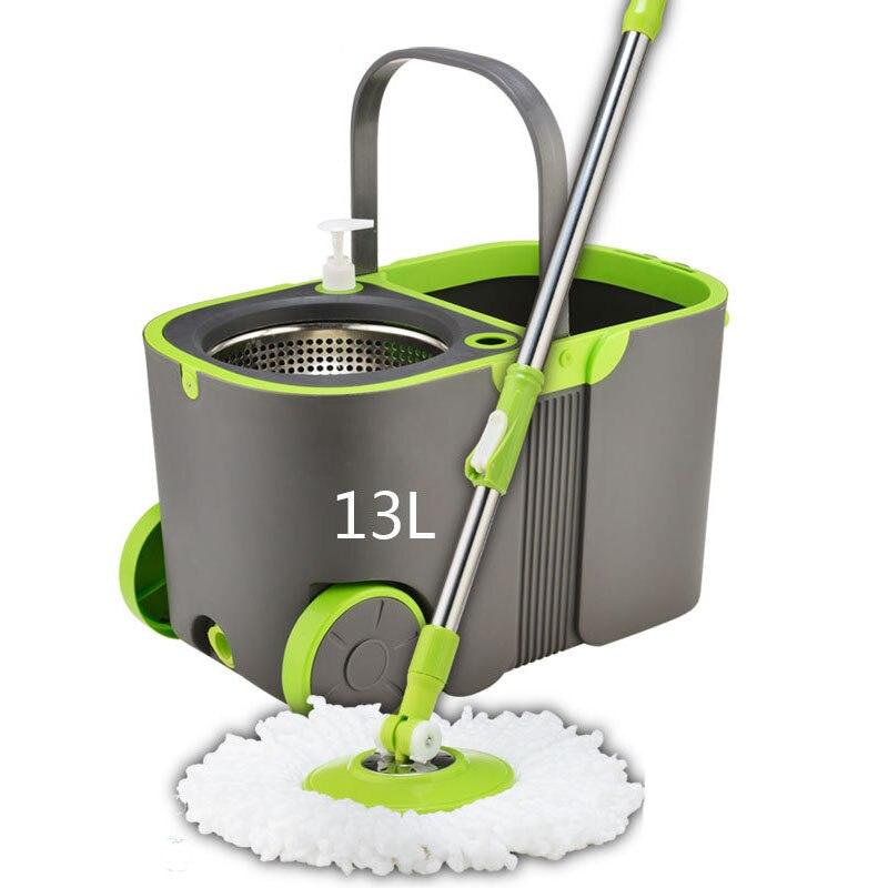 Moderno Doppio Drive Mop Secchio Set 360 Gradi di Rotazione Mop Pressione della Mano Mop In Acciaio Inox Maniglia Prodotti e attrezzature per pulizia casa