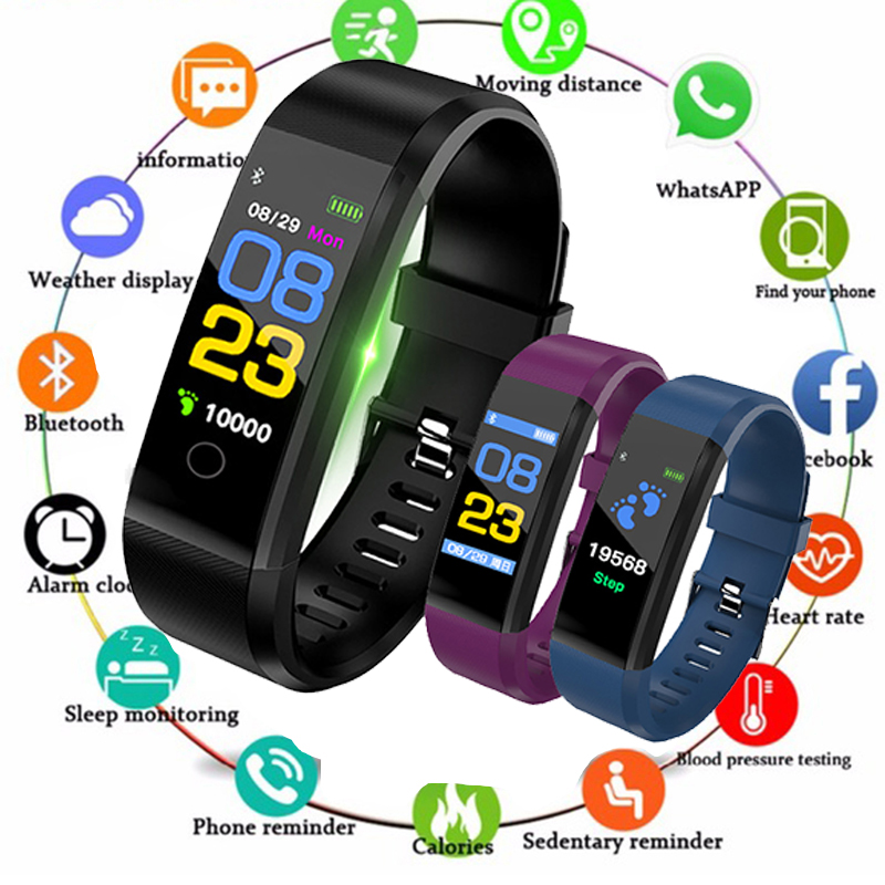 Bracelet Alarm-Clock Digital-Watch Monitor-Blood-Pressure-Monitor Vibrating Fitbits Heart-Rate