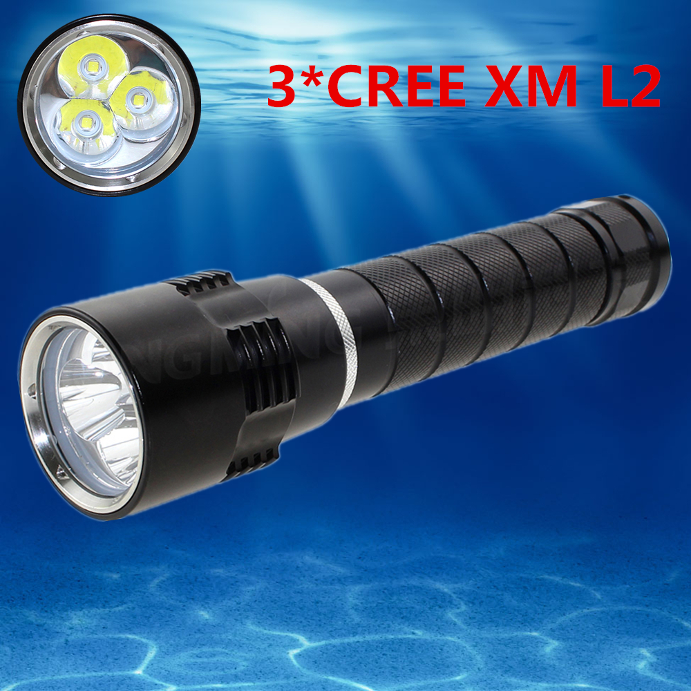 2016 New Underwater powerful led Diving Flashlight 4000 lumen 3 x CREE XM-L2 LED Lamp Waterproof  Torch diving Flash Light diving 4000 lumens cree xm l2 led 3 l2 led t6 flashlight torch waterproof underwear lamp light super white light