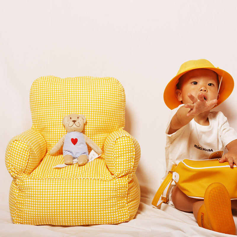 Nordic Baby Kids Sofa for Children's Bedroom Decoration Yellow Lattice Mini Sofa Bebe Bed Room Chair Chambre Chaise Enfant