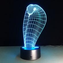 Acrylic Snake font b 3D b font Stereo Illusion Lamp 7 Color Change font b Led