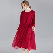 Large size womens casual fashion loose lace dresses high waist chiffon O neck long sleeve dress Spring new black