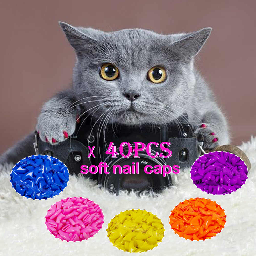 20pcs Silicone Soft Cat Nail CapsCat Paw Claw Pet Nail Protector/Cat Nail Cover with Free Glue Applictor Accessories Supplies
