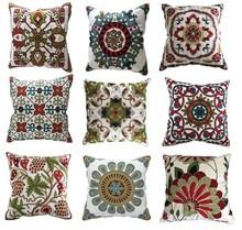 Decorativo bordado sofá cojín cojines fundas 45 cm * 45 cm sin relleno suave toalla bordado de flores