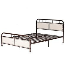 Queen size Metal Bed Frame Platform Bed Upholstered Panel Headboard Footboard Bedroom Furniture HW59207(China)