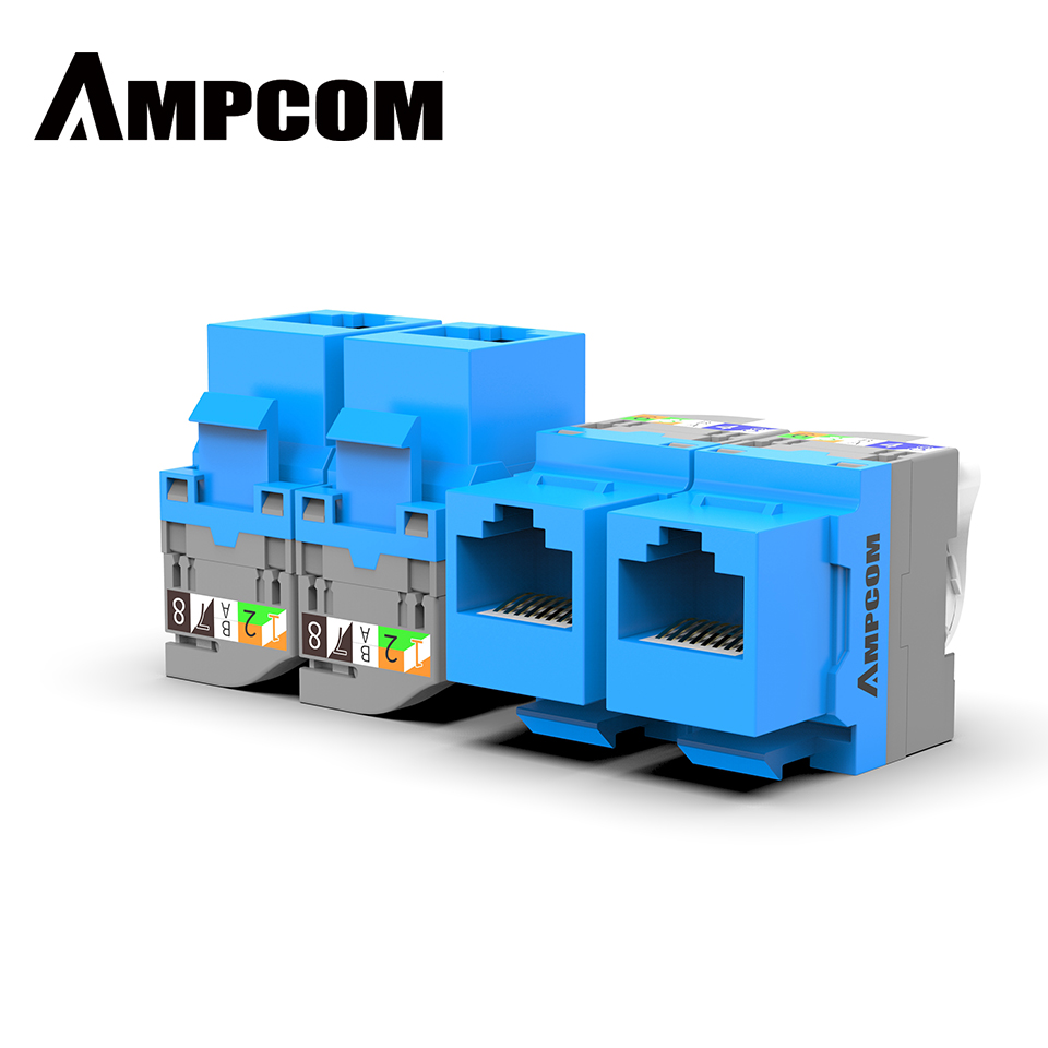 CAT5e/ CAT6 Tool Less Keystone Jack,AMPCOM RJ45 Self-Locking Cat.5e Keystone Module Adapter No Punch-Down Tool Required Couplers