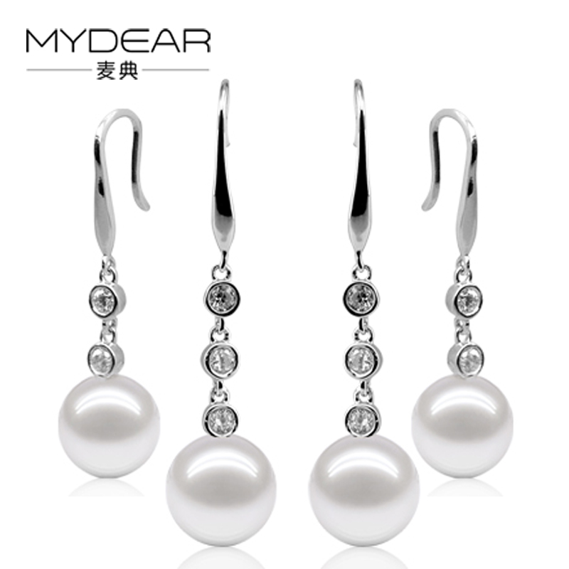 MYDEAR Fine Pearls Fashion Earrings Silver Drop Earrings Women 9.5-10mm 100% Real Freshwater Pearls Jewelry,2016 New Arrivals