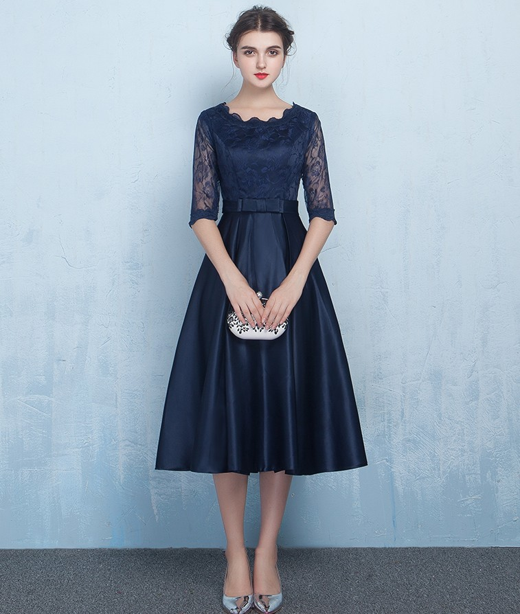 Vestido De Longo Navy Blue/Red Lace Top A-line   Bridesmaid     Dresses   Charming Wedding Party Gowns New Brides Maid Of Honor   Dresses