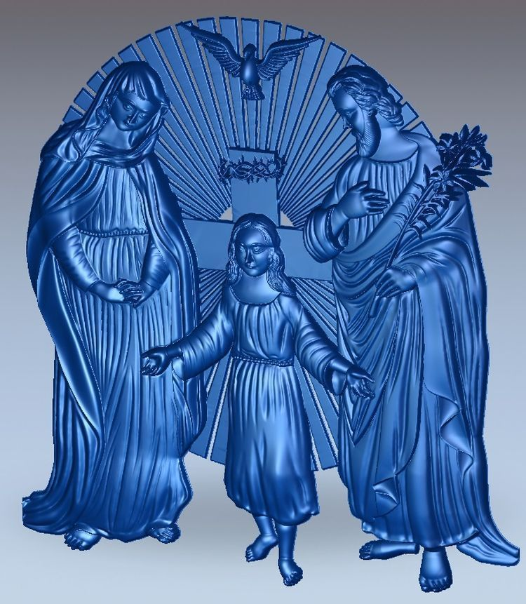 3d Model Relief Holy_Family  For Cnc In STL File Format