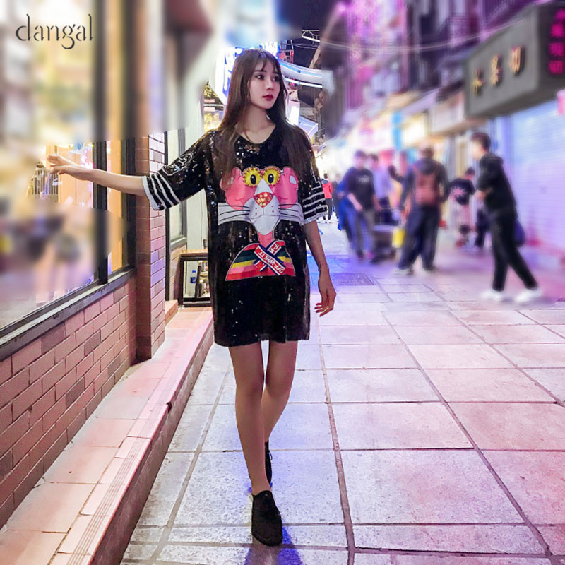 DangalCute Pink PantherTops Cartoon Sequin Beading Tshirt Hip Hop Bling T-shirt Street Women T Shirts For Stage Dance Club Party