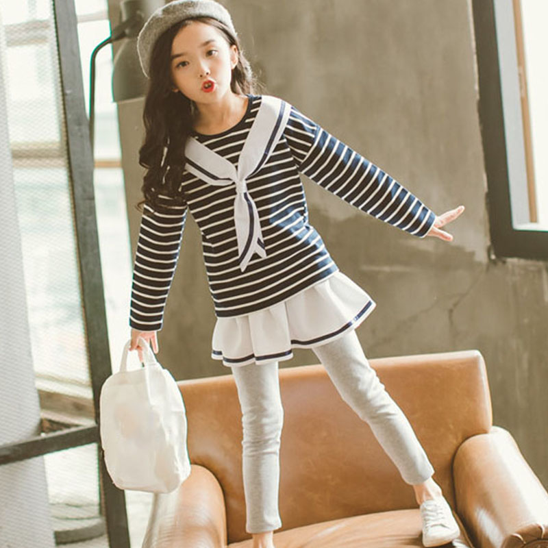teenage girls clothing sets spring 2018 autumn children girls clothes T-shirt+Pants with skirts outfits kids girls sport suit v tree new girls clothing sets spring autumn t shirt skirt suit sets for girl teenage school girls clothes kids brand clothes