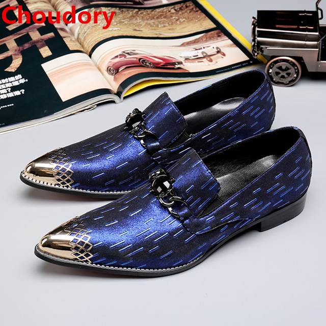 Choudory sapato social masculino blue spiked loafers men steel pointed toe  mens italian leather shoes hidden heel formal shoes 267514da3255