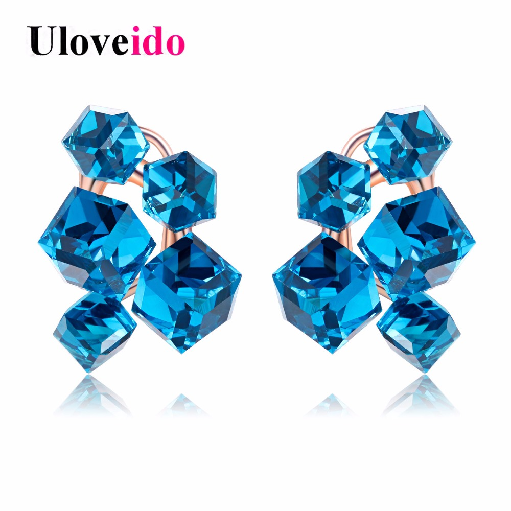 Womens Earrings with Stones Wedding Earring Rose Gold Large Rhinestone Gifts for Women Crystal Jewelry Accessories 15%off GR124