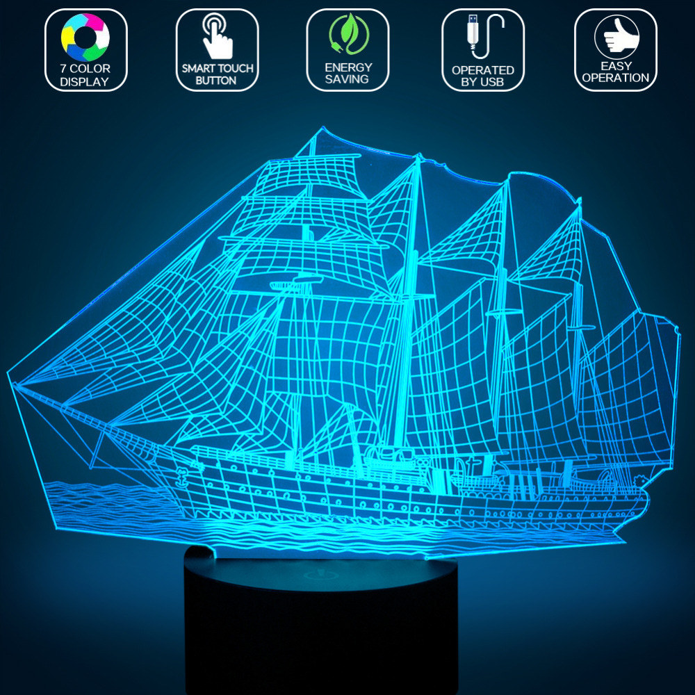 LED Night Light 7 Colors Changing Bedroom Decoration Sailing Boat Decor Lamp USB Charging Christmas Atmosphere Light TN