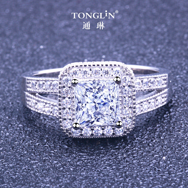 TONGLIN ture 925 sterling silver Rings For Female Square Crystal Finger Women Jewelry Accessories Big wide princess ladies ringTONGLIN ture 925 sterling silver Rings For Female Square Crystal Finger Women Jewelry Accessories Big wide princess ladies ring