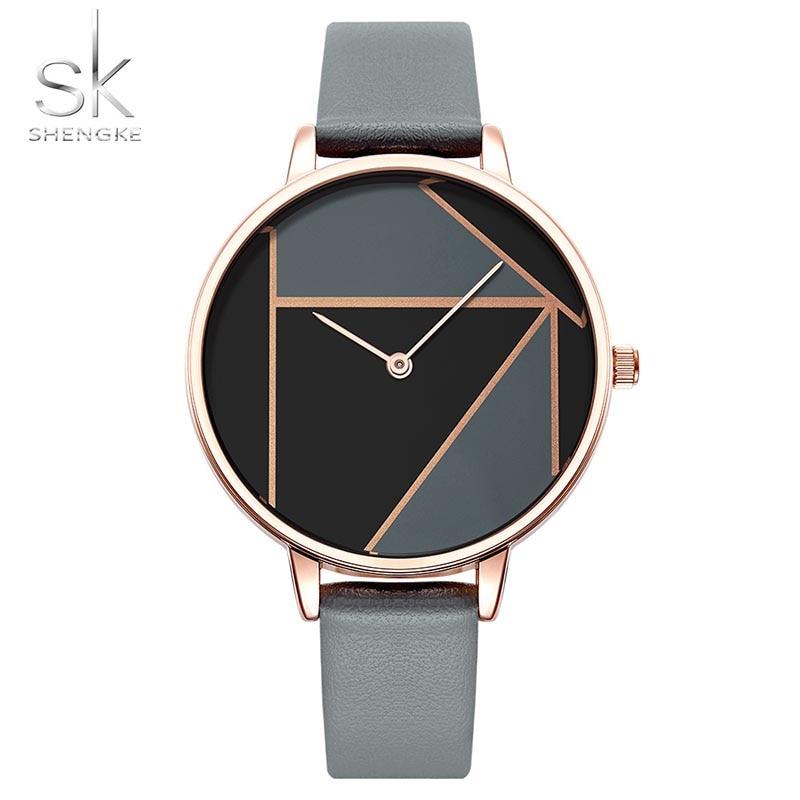 SK Leather Watchband Strap Women's Dress Business Watch Elegant Quartz Wristwatch Clock 1