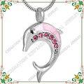 CMJ8324 Memorial Joyería para Cenizas de Cremación Recuerdo Urna Funeraria de La Eternidad Collar Acero Inoxidable 316L cristal delfín precioso