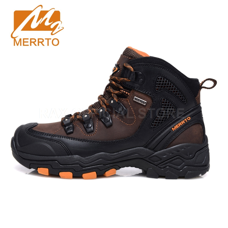 Merrto Outdoor Waterproof Hiking Boots For Men Breathable Shoes Hiking Genuinle Leather Trekking Boots Outdoor Sports Shoes Men 2017 merrto mens hiking boots waterproof breathable outdoor sports shoes color black khaki grey for men free shipping mt18638