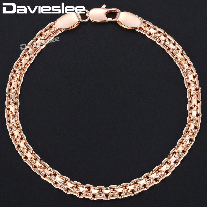 Davieslee Chain Bracelet for Women Weaving Bismark Link Mens Womens Bracelet Chain 585 Rose Gold Filled Jewelry Gift 5mm DGBM99