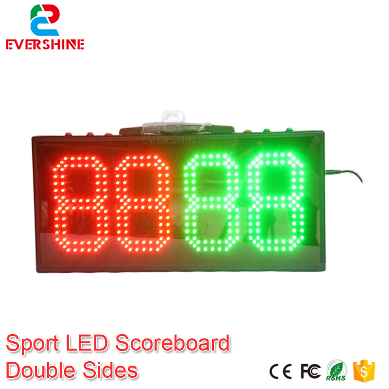 led electronic sports scoreboard 8 inch outdoor double side 4 digits red green color dispaly 555mmx256mmx50m soccer court sign gamecraft remote for outdoor tabletop scoreboard