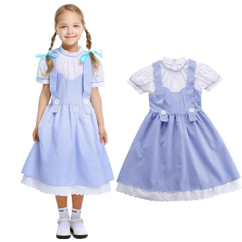 Kids Girl Maid Wizard of OZ Dorothy Princess Cosplay Carnival Costume Child Fancy Dress Christmas Halloween Fantasia Infantil