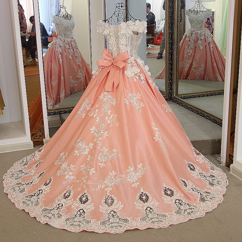 Real photos pearls beaded handmade flowers 50cm train orange satin ball wedding gown with big removable bow ribbons back - 2