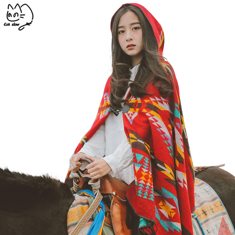 Winter Ethnic bohemian Scarf Blanket Pashmina Ponchos Capes Infinity Scarf Girls Cloak Cashmere Hat Shawl Knitted Hooded Scarf